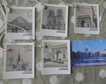 5 monuments of Paris vintage style tags