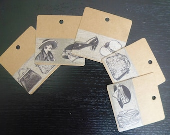 WOMEN RETRO collection! strong 20 kraft 6 x 6 cm decorated with vintage drawings