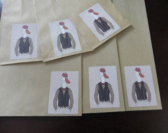 8 GEESE DRESSED gift bags: 4 large and 4 small