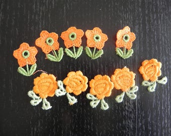 10 applique in cotton with orange flowers