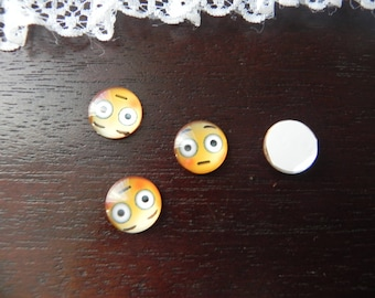2 cabochons EMOTICONS/SMILEY surprised glass 12 mm