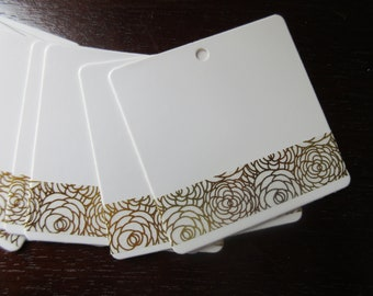 FLORAL COLLECTION: 95 strong kraft 6 x 6 cm decorated with golden flowers