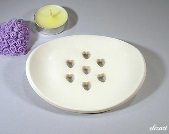 White soap dish, ceramic soap dish, soap holder, soap drainer, clay soap dish, pottery soap dish, soap tray,  bathroom accessories.
