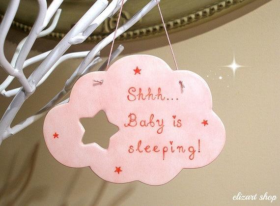 Shh Baby Sleeping Hanging Decoration Star Cloud Door Plaque