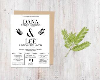 Wedding Invitation - Monochromatic Twigs {Customized Printable Invitation}