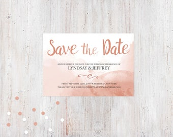 Save the Date - Pink Watercolor {Customized Printable Invitation}