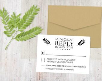 Response Card - Monochromatic Twigs {Printable RSVP Cards)