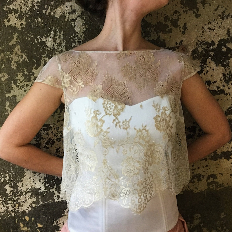 Bridal Cover Up Wedding Dress Topper Wedding cover up Lace Bolero Dress Topper Wedding Top Bridal Lace Top Wedding Separates