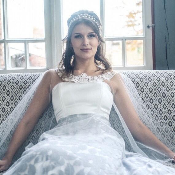 Braut Tull Cape Mit Spitze Applikation Hochzeit Tull Cape Tull Etsy