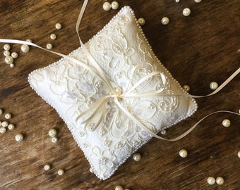 Beaded Lace Ring Bearer Pillow Ring Cushion Lace Ring Pillow with Pearl Trim Luxury Ring Bearer Pillow Lace Ring Cushion with Pearls