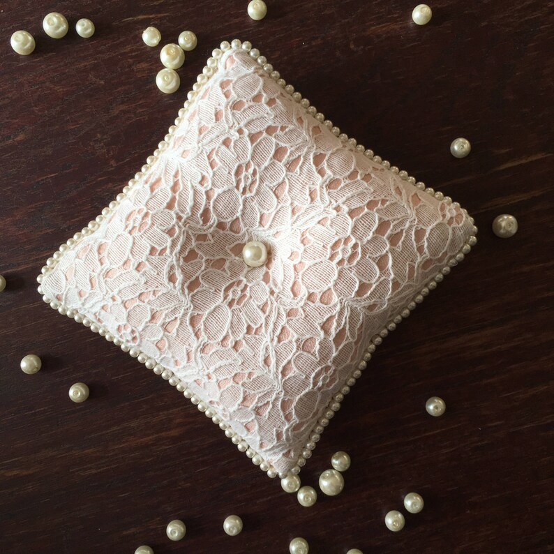 Lace Ring Bearer Pillow with Pearls  Wedding Ring Holder  Romantic Ring Pillow with Lace and Pearls  Pale Pink and White Lace Ring Holder