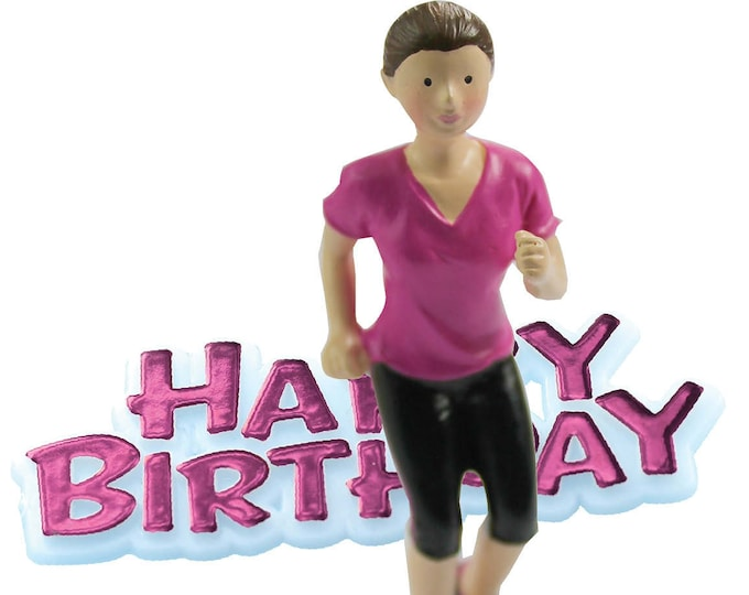 Free UK Shipping Lady Jogger Runner Happy Birthday Cake Topper