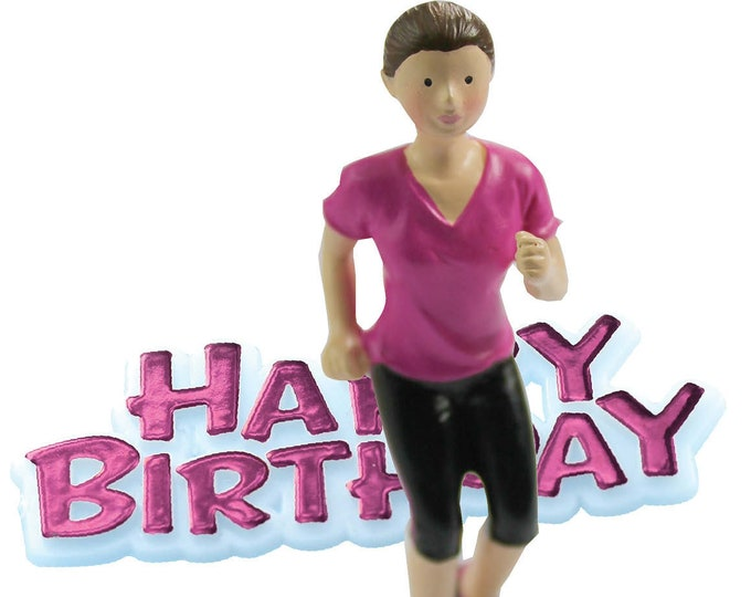 Free UK Shipping Lady Jogger Runner Happy Birthday Cake Topper, Happy Birthday Motto with Resin Lady Running Figure