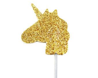 Free UK Shipping 12 Double Sided Gold Glitter Cup Cake Picks, Crown, Unicorn or Heart, 12 in pack (all the same design). Free UK postage