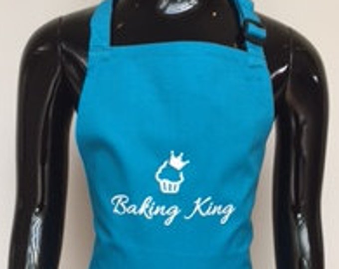 Baking King apron, great gift for bakers, baking gift, boy man who loves baking, hand printed apron, cup cakes, kids apron, adults apron