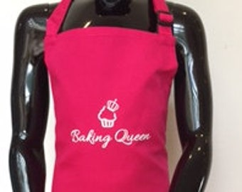 Baking Queen apron, great gift for bakers, baking girl, lady who loves baking, hand printed apron, cup cakes, kids apron, adults apron