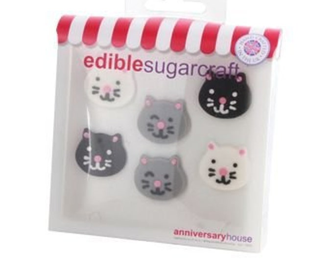 Free UK Shipping Edible Sugarcraft Kitty Cat Cup Cake Motifs, Pack of 6 in Black, White & Grey