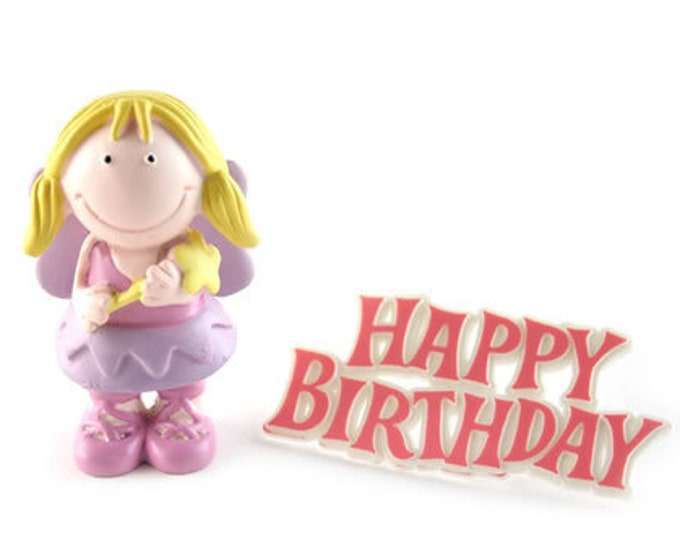 Cute Fairy Cake Topper with Happy Birthday Motto