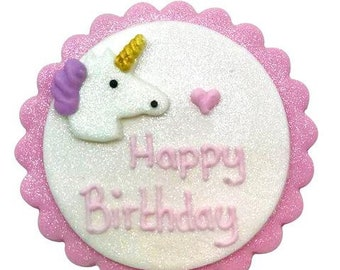 Happy Birthday Unicorn Plaque in Edible Sugarcraft