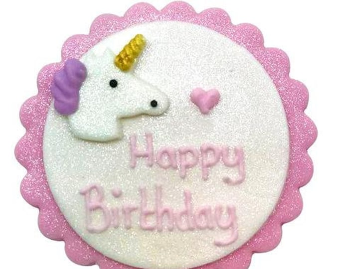 Free UK Shipping Edible Sugarcraft Happy Birthday Unicorn Plaque in Pink, White & Lilac