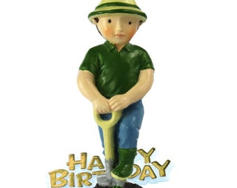 Free UK Shipping Gardeners happy Birthday Cake Topper, Male Gardeners Cake, Happy Birthday Motto with Resin gardener Figure