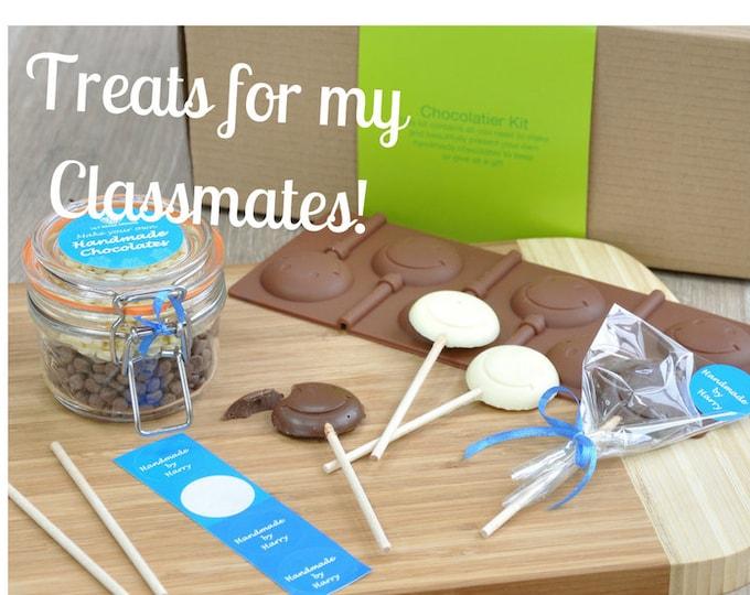 Classmates treats on childs birthday, Treats for school, Personalised chocolate Emoji lollipop, Mega chocolatier kit, Make your own treats