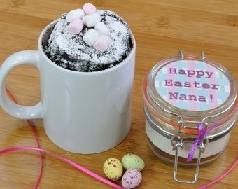 Personalised Easter Chocolate Cake in a Mug Mix with Choice of Belgian Chocolate Type