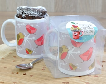 Personalised silver festive robins mug cake gift, chocolate cake in a cup for Christmas, vegan cake, gluten free cake, Belgian choc chunks