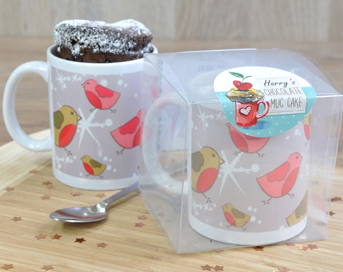 Personalised silver festive robins mug cake gift, chocolate cake in a cup for Christmas, regular or vegan cake or gluten free cake