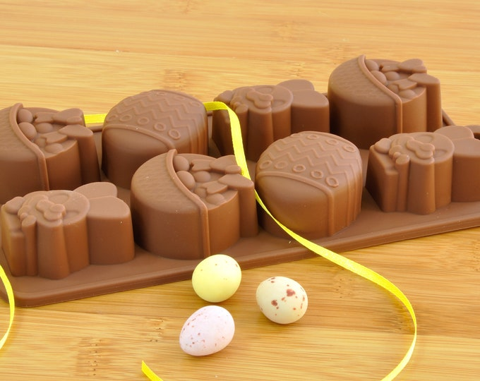 Easter Chocolate Mould in Reusable Silicone. Includes Easter Bunny, Easter Basket and Easter Egg shapes