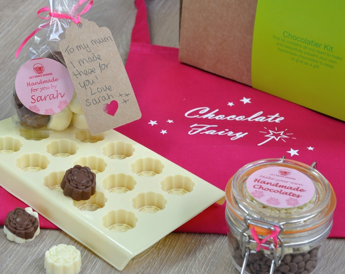 Personalized chocolate rose mold kit and pink apron!