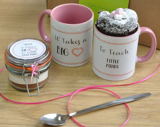 It takes a big heart to teach little minds, pink cake in a cup kit!