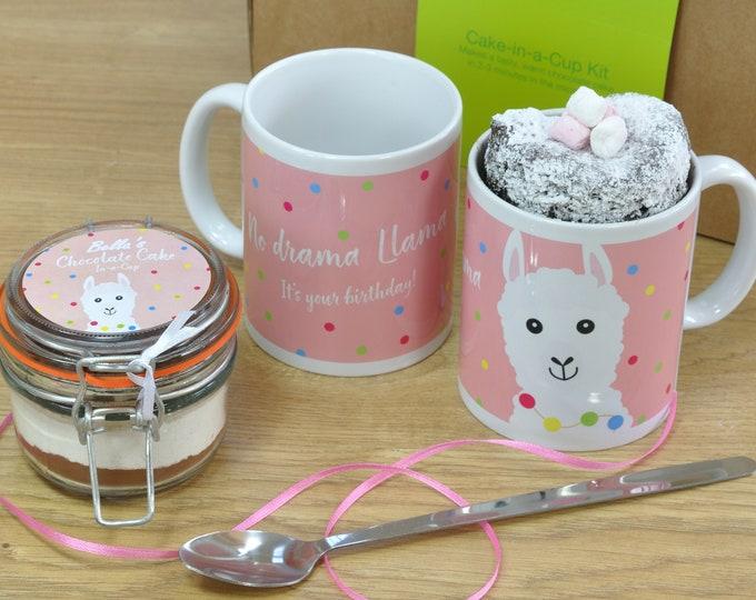 Llama Lover's Birthday Mug Cake Gift Set with Regular, Vegan, Low-Sugar, Gluten-Free or Dairy-Free Recipe