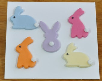 Bunny Rabbit Sugar Cake Decorations for Easter, Pack of 5