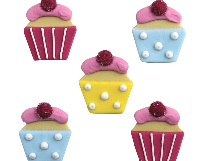 Free UK Shipping Edible Sugarcraft Cup Cake Motifs, Pack of 5 in Blue, Yellow & Pink