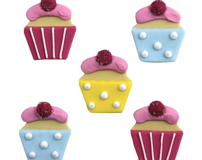 Edible Sugarcraft Cup Cake Decorations, Pack of 5
