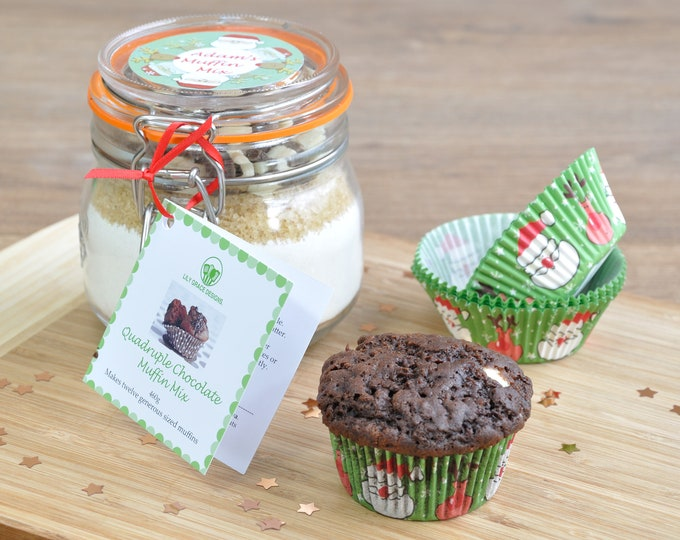 Personalised Xmas muffin mix, extremely chocolatey, Christmas baking gift, clip top jar with choc muffin ingredients, Christmas baking mix,