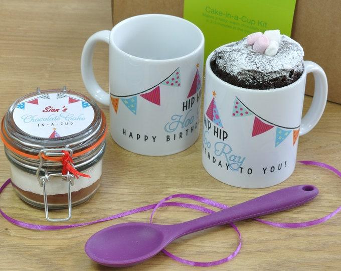Hip Hip Hooray Happy Birthday Mug Cake Gift Set!