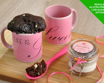 Gift for chocoholic, chocolate cake lover, mug cake kit, cake in a cup, personalised, cake jar, gift for her