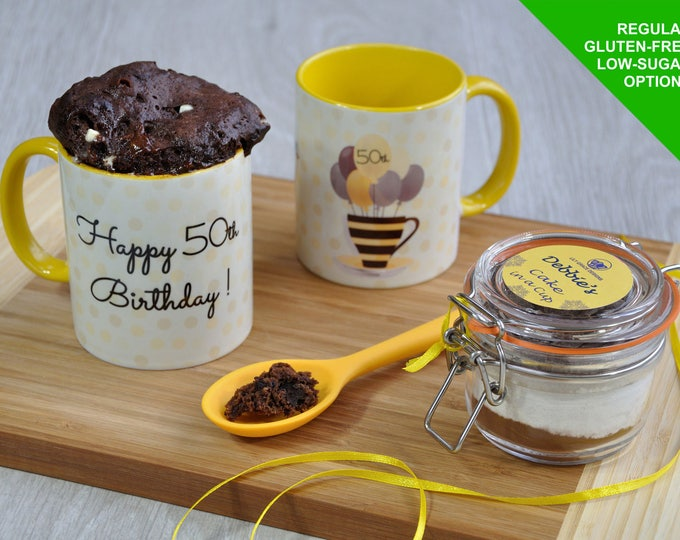 50th birthday gift, Happy 50th birthday, 50 today, birthday baking kit, mug cake gift, 50th birthday mug, ladys 50th gift, 50th present