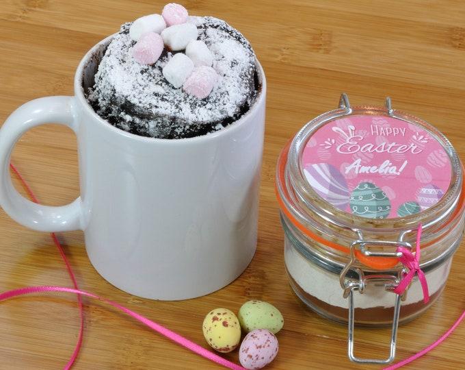 Personalised Easter mug cake jar with Easter eggs design