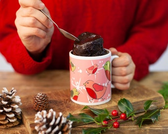 Stylish cake gift, Christmas mug cake treat, Chocolate cake lover, ladys Christmas mug, Christmas robins mug, Mum at Xmas, Sister at Xmas,