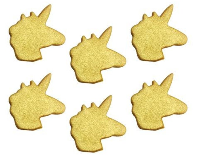 Free UK Shipping Edible Sugarcraft Unicorn Cup Cake Motifs, Pack of 6 in Gold