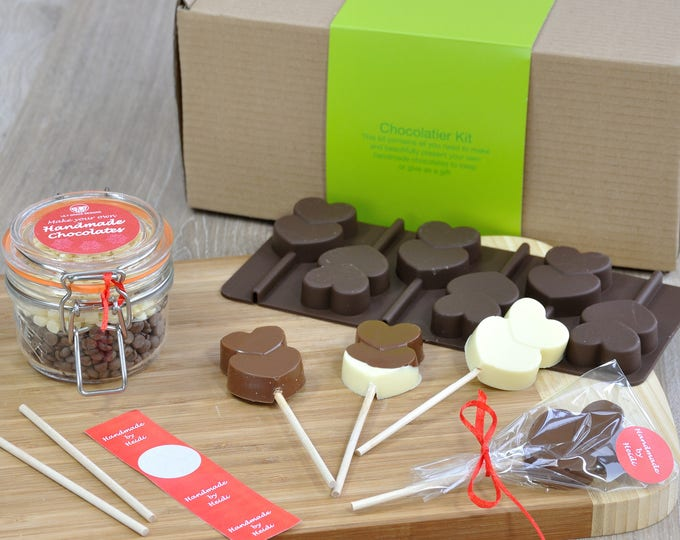 Personalised Lollipop Sweet Making Kit: Chocolate Hearts, School hols, toddler activity, sweet choc making, chocolatey treat, gift for mum,