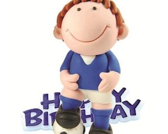 Happy Birthday Blue Footballer Non-edible Cake Topper