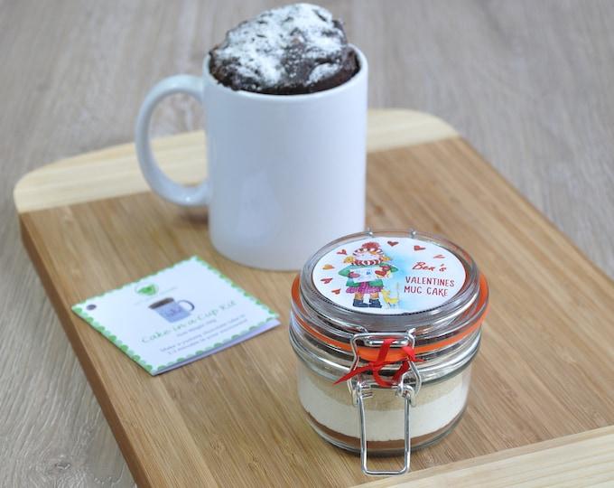 Valentines mug cake, cake to share, lovers treat, girlfriend cake, boyfriend cake, Small boy girl Valentines, Personalised Valentine gift,