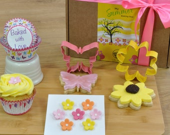 My Summer Baking Box, Baking supplies for cupcakes & cookies, Girls baking gift, Make your own cupcakes, make your own cookies, butterfly