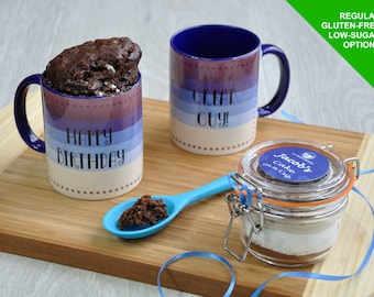 Mans Birthday Mug Cake Gift Set with Regular, Vegan, Dairy-Free, Gluten-Free or Low Sugar Recipe