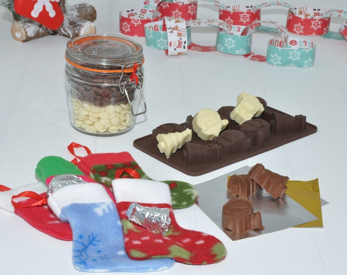 Christmas tree chocolate making kit, make your own Xmas tree chocs, mini Christmas stockings, silicone choc mould, giant Kilner jar of choc