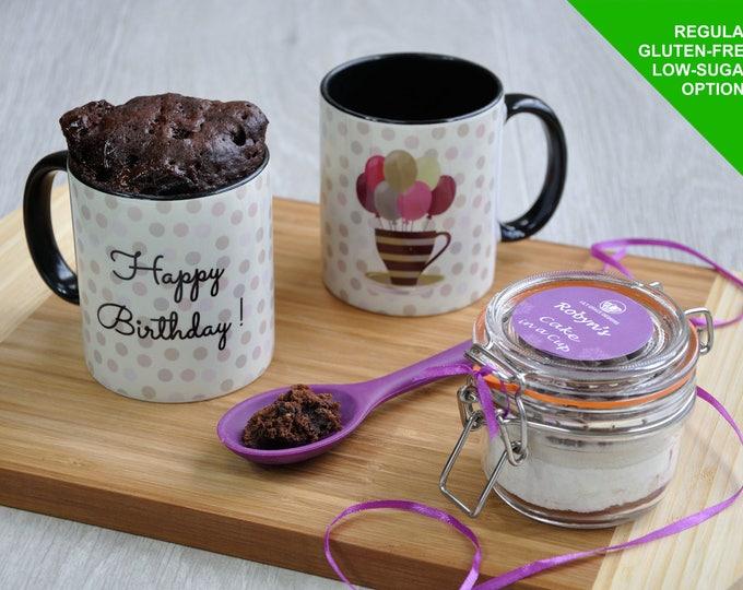 Birthday cake gift, mug cake for man, mans birthday, personalised cake, dads birthday, gluten free, birthday mug, coffee mug, sweet tooth